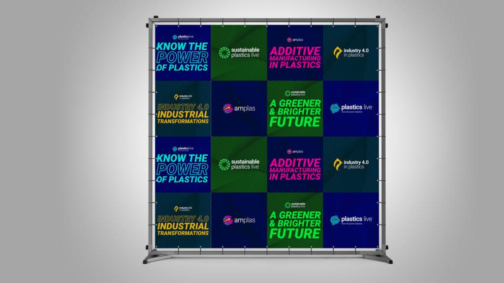 Event backdrop for Plastics Live