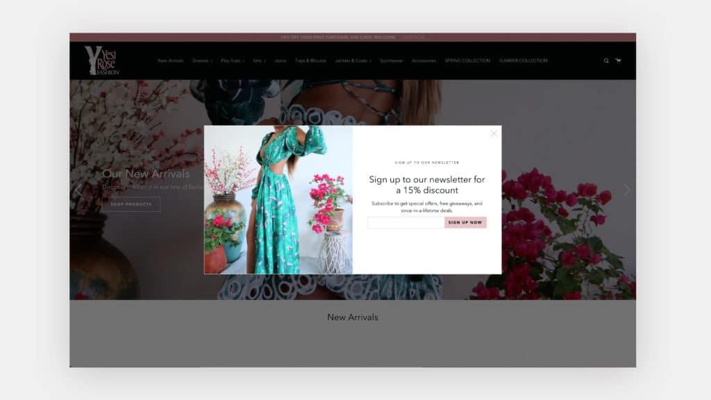 Pop up on Yesi Rose Fashion website